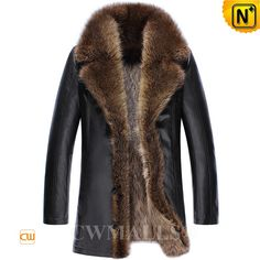 CWMALLS® Denver Raccoon Fur Leather Coat CW836059 - Raccoon fur leather coat for men, crafted from genuine sheepskin leather shell and warm raccoon fur lining, the large raccoon fur collar and trim adds more nobility and luxury to it. A typical winter coat for each man to own in his wardrobe, please not miss it on the coming Double 11.