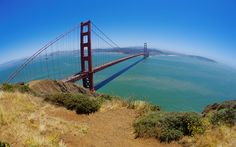 The Golden Gate Bridge,San francisco  (earth's curvature can be seen)