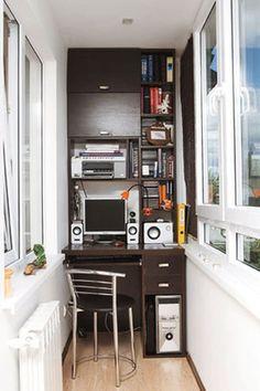 adelaparvu.com birou pe balcon (8) Small Bedroom Office, Cozy Home Office, Home Office Decor, Home Decor, Small Office, Home Library Design, Office Space Design, House Design, One Room Flat