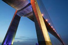 Normandy bridge, France  © Lafarge Library - Eric Tourneret - Doyelle (Architect) - Lavigne Charles (Architect) - Kersalé Yann (lights design)