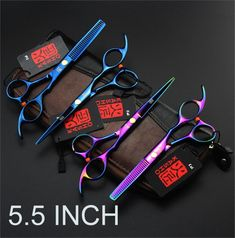 High Quality KASHO rainbow hair scissors 5.5 INCH professional barber hairdressing beauty scissors thinning shears,custom LOGO