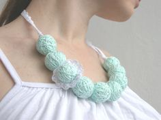 Mint white long necklace of a thread cotton flower for by BallClub, $15.00