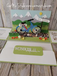 E-Bike zum Geburtstag (CarMa Style) – Gift Ideas 2020 Bicycle String Art, It's Your Birthday, Birthday Gifts, Birthday Ideas, Exploding Box Card, Explosion Box, Marianne Design, Woodland Party, Stamping Up