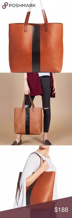 """madewell // cognac striped transport bag NWT Madewell classic cognac leather transport tote with black stripe detail. Don't miss this new take on the gorgeous fan favorite bag that lasts forever and holds everything. Interior wall pocket, open top. 14 ½""""W x 14""""H x 6""""D; 8"""" strap drop. Madewell Bags"""