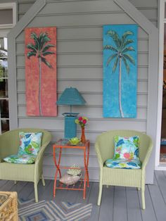 Back Porch Ideas – If you have a back porch, you probably have been as guilty as the rest of us by not doing much to provide a welcoming environment. - My Home Decor Beach Cottage Style, Beach Cottage Decor, Coastal Decor, Coastal Cottage, Coastal Living, Coastal Homes, Beach House Diy Decor, Outdoor Beach Decor, Lake Cottage