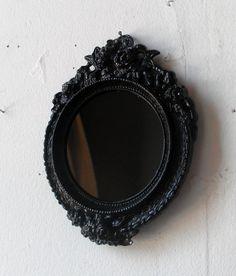 Black Scrying Mirror in Miniature Round by SecretWindowMirrors, $24.00