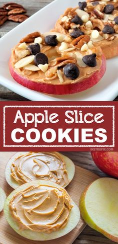 """Easy and fun snack ideas for kids! My kids love these apple slice """"cookies"""". They are the perfect healthy after-school snack that you don't have to feel guilty about. Super quick and fun for adults, too! Snacks easy Healthy & Easy Snack Ideas For Kids Healthy Snacks For Kids, Healthy Meal Prep, Healthy Snack Recipes, Dinner Healthy, Healthy Breakfast For Kids, Snacks Recipes, Quick And Easy Snacks, Snack Ideas For Kids, Healthy Kids Snacks For School"""
