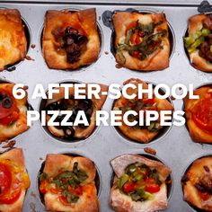 Recipes Snacks Videos 6 After School Pizza Recipes // Pizza Snacks, Snacks Für Party, Pizza Recipes, Appetizer Recipes, Cooking Recipes, Party Appetizers, Cupcake Pan Recipes, Party Recipes, Recipes Dinner