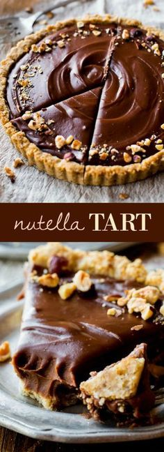 Smooth and creamy Nutella tart complete with a toasted hazelnut crust. It's surp… Smooth and creamy Nutella tart complete with a toasted hazelnut crust. It's surprisingly easy! Recipe on sallysbakingaddic… Just Desserts, Delicious Desserts, Dessert Recipes, Yummy Food, Dinner Recipes, Dessert Food, Sallys Baking Addiction, Chocolate Desserts, Nutella Deserts
