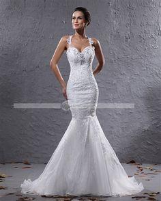 Amylinda™ Elegant Organza Applique & Beaded Shoulder Straps Floor Length Court Train Mermaid Wedding Dress