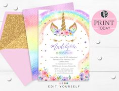 Unicorn Birthday Invitation Template New Rainbow Unicorn Invitation Editable Template Edit at Home 1st Birthday Invitation Template, Free Invitation Cards, Rainbow Invitations, Unicorn Birthday Invitations, Diy Invitations, Unicorn Birthday Parties, 10th Birthday, Birthday Ideas, Birthday Stuff