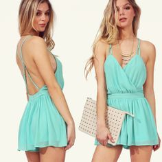 Mint Green Spaghetti Strap Backless Pleated Jumpsuits
