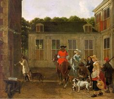 Ludolf de Jongh - Hunting party in the Courtyard of a Country House circa…