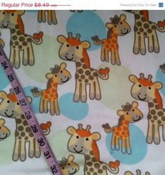 Baby Flannel fabric with giraffes kids by ConniesQuiltFabrics