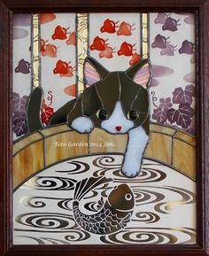 和猫日和 Stained Glass Crafts, Stained Glass Patterns, Sketch Painting, Watercolor Sketch, Cat Pattern, Mosaic Glass, Cat Art, Paper Art, Sculptures