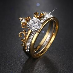 Luxury Gold Color Cubic Zirconia Crown Flower Ring