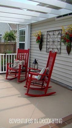 Maybe you would like to upgrade the complete back yard, or perhaps only the patio area. Your patio garden requires a floor finish. With many patio furniture alternatives to pick from you can readily make an outdoor space that is going to be well utilized. Red Rocking Chair, Rocking Chair Makeover, Outdoor Rocking Chairs, Outdoor Lounge, Red Rocker, Style Cottage, Building A Porch, Building Homes, House With Porch