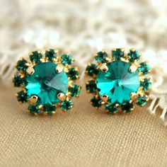 Emerald Crystal stud classic earring  14 k plated gold by iloniti, $31.00