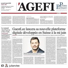 #Repost @julianvlee  Grand MERCI au journal AGEFI pour cette couverture de @guestleeproperties   Trouvez votre copie dans le journal AGEFI aujourd'hui  Surprise à annoncer en juin  Link de l'article en commentaire :  Nous amènons l'immobilier du luxe au 21ème siècle   #realestaterevolution Journal, Words, Amazing, Comment, June, Real Estate, Thanks, Journal Entries, Horse