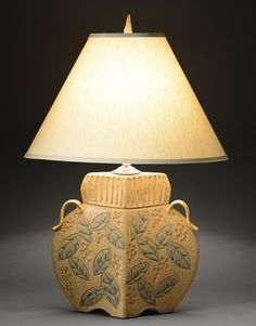 Arts And Crafts Lamp In Gold By Jim And Shirl Parmentier (Ceramic Table Lamp