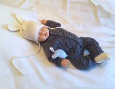 knitted baby boy coming home outfit. Knit baby Gray jumpsuit.