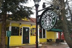 Coffee ... Starbucks in Breckenridge, Colorado. It's just a cute little yellow cottage of a coffee shop. If there wasn't a sign, you might not even realize it was a Starbucks from the outside.