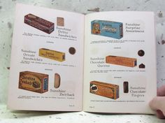 """1940s """"Sunshine"""" Cracker Brand recipe book with colorful graphic ads. I have…"""