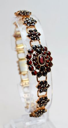 Antique Bohemian Garnet Gold Bracelet