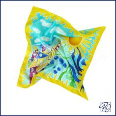 Silk Scarf Multicolor Hand Painted Scarf Square by PolganiStudio