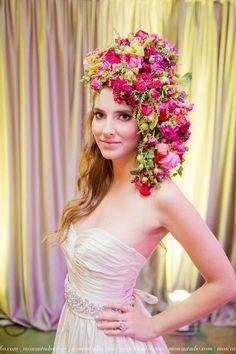 botanical headpiece with pink  flowers,Bridal Unveiled 2014 fashion show' Francoise Weeks - photo: Mosca Studio
