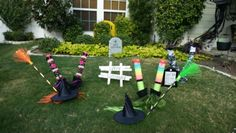 Witch legs out of pool noodles and dowl rods. My mom's yard!!