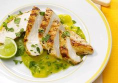Mango Mojo With Grilled ChickenPuree 1 peeled and chopped mango and 3 Tbsp lime juice in blender. Transfer to bowl and stir in 3 Tbsp each finely chopped jalapeno (without seeds) and cilantro, 1 tsp minced garlic, and 1/4 tsp cumin. Serve with grilled chicken breast and lime wedges. Serves 4