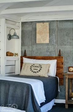 I love the galvanized metal wall! This would look fantastic in a boy's bedroom. Guest Cottage Room REVEAL {in an Old Farmhouse Shed} - Knick of Time Home Bedroom, Bedroom Decor, Bedroom Rustic, Shed Bedroom Ideas, Boys Industrial Bedroom, Master Bedroom, Cottage Bedrooms, Rustic Room, Budget Bedroom
