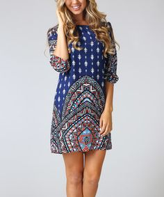 Love this Royal Blue & Red Tribal Cutout Shift Dress by Pinkblush on #zulily! #zulilyfinds