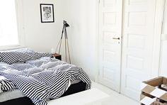 black & white striped bedding