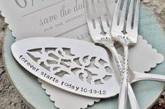 Mr. & Mrs. WEDDING Cake forks with Forever Starts Today (TM) Personalized Vintage Wedding Cake Server - Hand Stamped SET. $80.00, via Etsy.