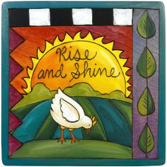 Sticks Rise and Shine Plaque Artistic Artisan Designer Plaques Wall Art With Inspiration Words, Phrases, and Sayings Azulejos Diy, Peace Pole, Sticks Furniture, Artistic Installation, Me Anime, Hand Painted Furniture, Barn Quilts, Rock Art, Garden Art