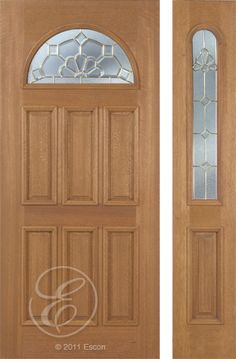 Exterior Solid Mahogany Excellent Jefferson Half Round Top Decorative Glass  Six Panel Brass Or Patina Triple