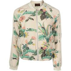 MAISON SCOTCH Womens Multi Colour Retro Floral Bomber Jacket (230 BAM) ❤ liked on Polyvore featuring outerwear, jackets, tops, coats & jackets, multi color jacket, flower print bomber jacket, pink jacket, floral print jacket and maison scotch