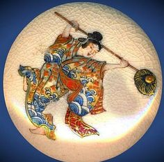 Large Very Fine Satsuma Pottery Lady Dancer in Roiling Waves Kimono Button