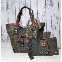 be20020c41 Duo sac pochette / Sac cabas et toile bâche militaire camouflage vert et  marron et sa