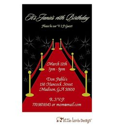 Red Carpet Invitation: Invitation featuring a red carpet for the guest of honor