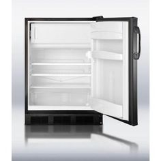 "Summit Appliance 5.1 cu. ft. Mini Refrigerator in Black-CT66BBIX (custom panel_ different website, door storage, 24"""