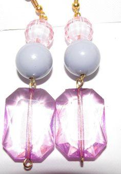 Pink Crystal balls ,Grey Bead and Dark Pink Earrings