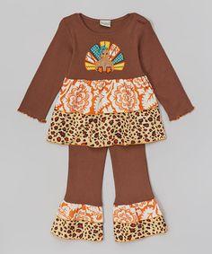Look at this #zulilyfind! Brown Leopard Turkey Top & Pants - Infant, Toddler & Girls by AnnLoren #zulilyfinds