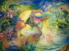 The Fantasy World of Josephine Wall. Josephine Wall Art Paintings of A magical world with celestial goddesses, fairies, and mythological characters, celestial Angles. Josephine Wall, Cross Stitch Books, Cross Stitch Art, Cross Stitch Designs, Stitch Patterns, Cross Stitching, Fantasy World, Fantasy Art, Art Diy