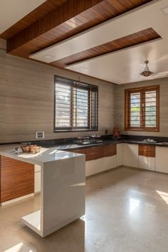 The Contemporary Cubic House Tvakshati Architects - The Architects Diary Kitchen Ceiling Design, House Ceiling Design, Ceiling Design Living Room, Bedroom False Ceiling Design, Kitchen Room Design, Home Ceiling, Home Room Design, Kitchen Cabinet Design, Modern Kitchen Design