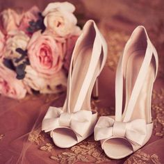 Strappy Bow Ivory Peep Toe Wedding Heels from David's Bridal wedding shoes Pretty Shoes, Cute Shoes, Me Too Shoes, Wedding Boots, Wedding Heels, Wedding Lace, Casual Wedding, Pink Wedding Shoes, Wedding Music
