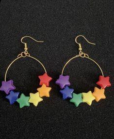 Weird Jewelry, Funky Jewelry, Cute Jewelry, Jewelry Crafts, Handmade Jewelry, Earrings Handmade, Funky Earrings, Diy Earrings, Hoop Earrings