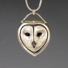 Brooke Stone Jewelry Silver Barn Owl pendant. Cast sterling silver w/ Onyx eyes   1 1/2 inch length CUTE!! #SterlingSilver